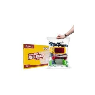 """[PACK OF 25] Extra X-Large Big 5 Gallon Ziplock Bags For Food Prep, Travel, Organization, Moving or Storage, 2 Mil. Thick, 18"""" x 24"""","""
