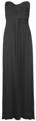 Crazy Girls Women's Boobtube Knot Front Bow Bandeau Maxi Long Dress