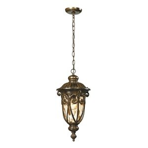 Elk Lighting 45074/1 Logansport Collection 1 Light Outdoor Pendant, Hazelnut Bronze