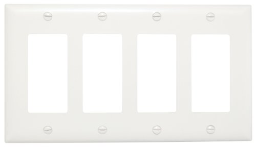 Legrand - Pass & Seymour TP264WCC10 Trade Master Nylon Wall Plate with Four Decorator Openings, Four Gang, White