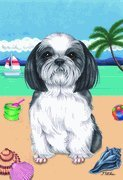 Shih Tzu Black/White – by Tomoyo Pitcher, Summer Themed Dog Breed Flags 12 x 18 Review
