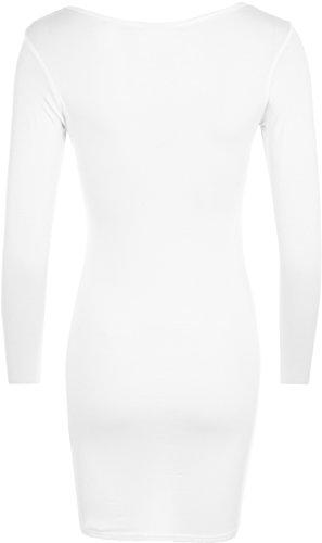 A Taglie Donna 14 Mini Top Abito Lunghe Bianco Maniche 8 BodyCon qwE47
