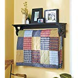 The Lakeside Collection Deluxe Quilt Rack with Shelf - Black
