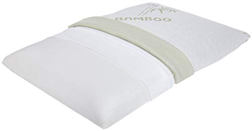 LumaLife Luxe Special Edition Extra Flat, Extra Firm Memory Foam Pillow with Cool Bamboo Cover. Approximately 2-2.5 Inches Thin. (Bamboo)