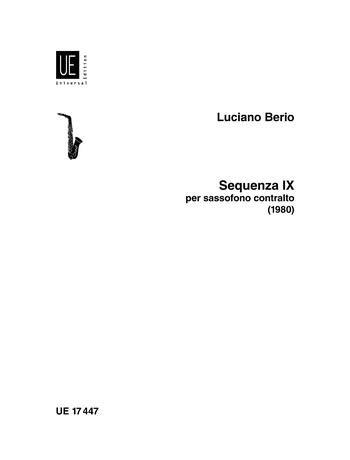 Sequenza IXb for Alto Saxophone