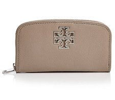 TORY BURCH BRITTEN ZIP CONTINENTAL WALLET CLUTCH BAG FRENCH GRAY LEATHER - Logo Clutch Wallet
