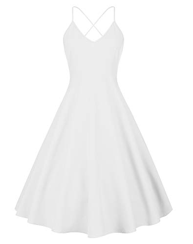 Eliacher Women's Deep V Neck Adjustable Spaghetti Straps Summer Dress Sleeveless Sexy Backless Party Dresses with Pocket (S, ()
