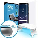 Galaxy S8 Screen Protector Tempered Glass Shield, [Liquid Dispersion Tech] 3D Curved Full Coverage Dome Glass, Easy Install Kit and UV Light by Whitestone for Samsung Galaxy S8 (2017)