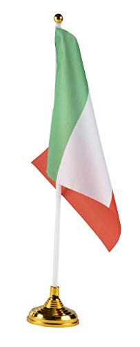 Juvale Italian Desk Flags - 24-Piece Desktop Flags with Stick and Gold Stand, Italy Flag Table Decoration, 8.5 x 5.5 Inches