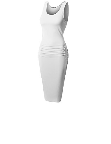 TWINTH Long Sleeve Round Neck Knee Length Bodycon Dress WHITE L
