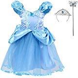 Girls Cinderella Dress Costumes Princess Costume Set, Blue, X-Large]()