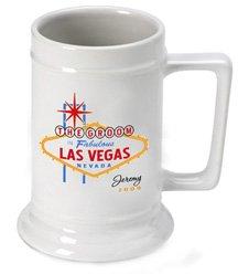 Personalized Vegas Wedding Party Beer Stein - Groom (Party Wedding Beer Vegas)