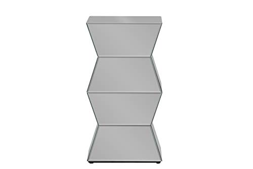 Baxton Studio Sakina Contemporary Multi-Faceted Mirrored Side Table (Glam Silver Mirrored Nightstand By Baxton Studio)