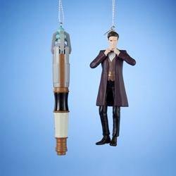 Kurt Adler Doctor Who 11th Doctor/Sonic Screwdriver Ornament, 4.5-Inch, Set of (Adler Pottery)