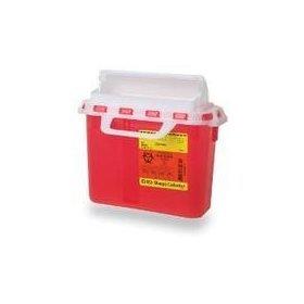 BD 5.4 Quart Red Horizontal Entry Sharps Container