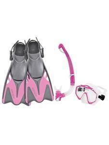 Body Glove Women's EXO Mask and Snorkel Fins Combo Set, Pink, X-Large/XX-Large ()
