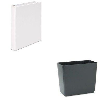 KITRCP25051UNV20962 - Value Kit - Rubbermaid Designer 2 Wastebasket (RCP25051) and Universal Round Ring Economy Vinyl View Binder (UNV20962)