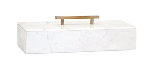 Imax Lidded Box - IMAX 82507 Keely Marble Lidded Box, White by IMAX