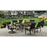 Englewood Heights II 7-Piece Patio Dining Set, Seats 6, Black