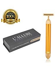 Face Massager By L'Allure Exclusive - 24k Gold Electric Facial Pulse Head Massage Tool Face Lift Kit Anti Aging Anti Wrinkle Treatment Remover Tighten Skin Energy Beauty Bar Cleanser for Women and Men