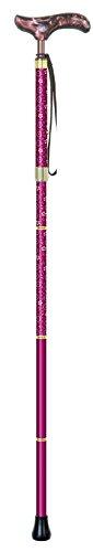 シナノ カイノスT-1 花 KOMON (ワイン) 全長75-85cm(ピッチ2cmラチェット調節式) 約300g 布製ストラップ 専用ポーチ付 折り畳み杖 日本製 B016I7RQKK ワイン ワイン