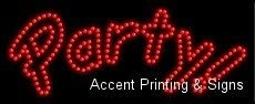 LED Party Sign for Business Displays 11H x 27W x 1D Horizontal Electronic Light Up Sign for Business