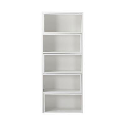 Expandable Corner Console (Bookcase / Bookshelves 5 or 9-Shelf Multipurpose Decorative Expandable Shelving Unit Console in White - 59 in. Tall.)