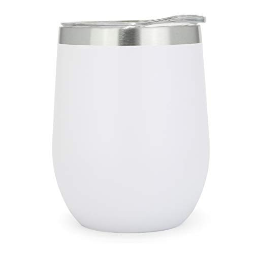 12oz Insulated Wine Glass Tumbler With Lid, white Double Vacuum Wall Stainless Steel Cup For Coffee,Cocktails,Travel Drinks ()