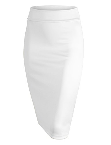 Made By Johnny WB700 Womens Scuba Midi Skirt L White
