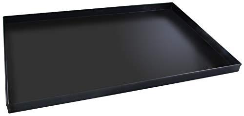 FMprofessional Plaque à pizza rectangulaire 60 x 40 cm, idéale pour pizza, plaque de cuisson résistante à la chaleur jusquà 400 °C, tôle rectangulaire avec revêtement en émail (couleur : noir)