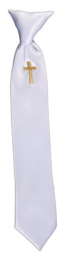 Boys Communion Neck Tie White with Gold Embroidered Religious Cross (Boys 16