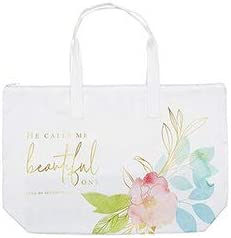 He Calls Me Beautiful One Inspirational Zipper Tote Bag For Women, Heavy Duty Canvas with Handles and Pastel Artwork, Song of Solomon 2:10, 22 x 15 Inches