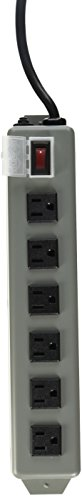 TRIPP LITE UL24RA-15 Waber Industrial Power Strip 6 Right-Angle Outlets 15' Cord, Locking Switch Cover by Tripp Lite