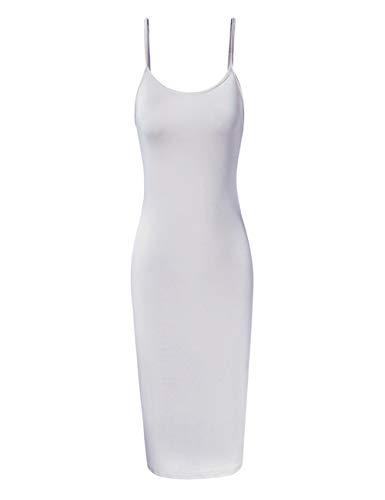 - GloryStar Women Sleeveless Spaghetti Strap Cami Maxi Slip Dress (M, White-Short)