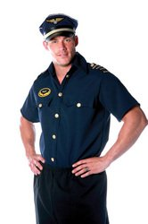 First Pilot Costumes (Underwraps Costumes Men's Pilot Costume - Shirt, Navy, One Size)