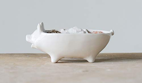 Creative Co-op DA9659 Pig Shaped Stoneware Dish with 3 Sections ()