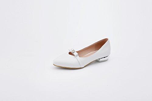 GAOLIM Zapatos De Mujer Primavera Pajarita Punta Perla Luz Es Baja Con Solo Zapatos Zapatos Calzado Chicas Estudiantes Blanco