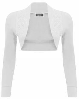 Mix lot nuevas señoras de moda de lujo de manga larga encogimiento de hombros de cuentas bolero superior diferentes colores más tamaño casual / fiesta de tamaño desgaste 36-42 blanco