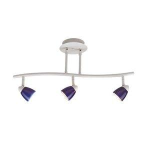 Cal Lighting SL-954-3-BK/YES Track Lighting with Opal Art Glass Shades, Black Finish