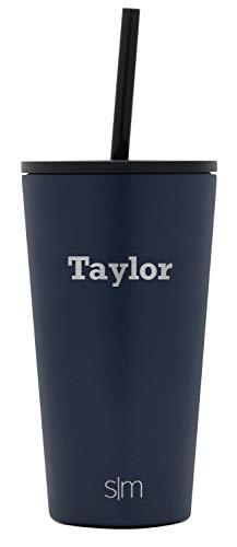 Simple Modern Personalized Gift Tumbler Custom, Classic 16oz - Straw & Flip Lid, Deep Ocean