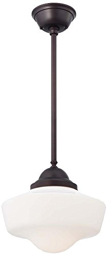 Minka Lavery 2256-576 1-Light Schoolhouse Pendant, Brushed Bronze Finish