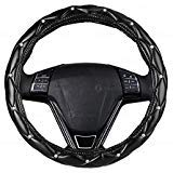 Car Crystal Bling Wheel Cover- Zone Tech Shiny Steering Wheels- Anti-Slip Rhinestones PU Leather Backing- Bling Shiny Diamond Wheel Protector