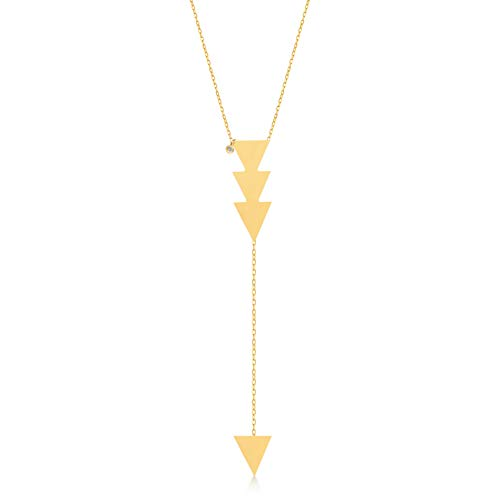 - GELIN 14k Solid Gold 0,01 ct Diamond Triangle Pendant Y Necklace for Women, 18 Inc