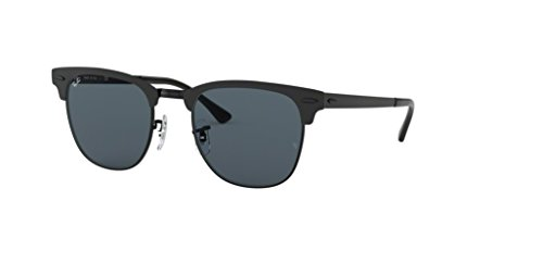 Ray-Ban RB3716 CLUBMASTER METAL 186/R5 51M Shiny Black Top Matte/Blue Sunglasses For Men For ()