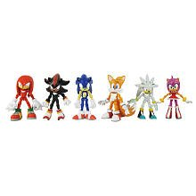 Sonic the Hedgehog Modern Exclusive Action Figure 6 Pack Tails, Knuckles, Sonic, Amy, Shadow Silver