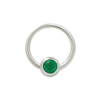 Jeweled Steel Captive Ring (Captive Bead Ring Surgical Steel with 6mm Dark Green Jeweled Bead - 14 Gauge - 1/2 Inch)