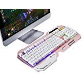 Haizhi AK60 Pink Gold Mechanical Feel Multimedia Professional Gaming Keyboard, LED Rainbow Color USB For LOL