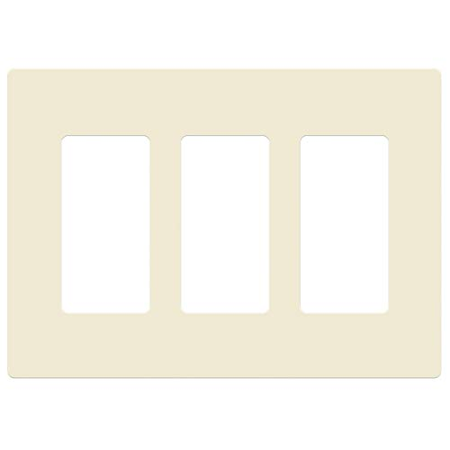 (ENERLITES Screwless Decorator Wall Plates Child Safe Outlet Covers, Size 3-Gang 4.68