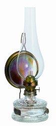 Lampe /à huile ancienne avec miroir miroir en cadre m/étallique en couleur laiton du cylindre souffl/ée a la bouche Oberstdorfer Glash/ütte /&hel hauteur env lampe de p/étrole pour m/èche plate 15 mm de largeur 32,5 cm