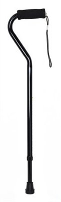 Offset Padded Handle Cane, Black Finish, Adjustable 30 to 39 Inch, -